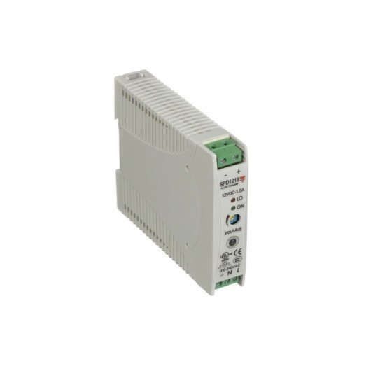 Fuente alimentación carril DIN 12 VDC, 18W, 1´5A, SPD12181