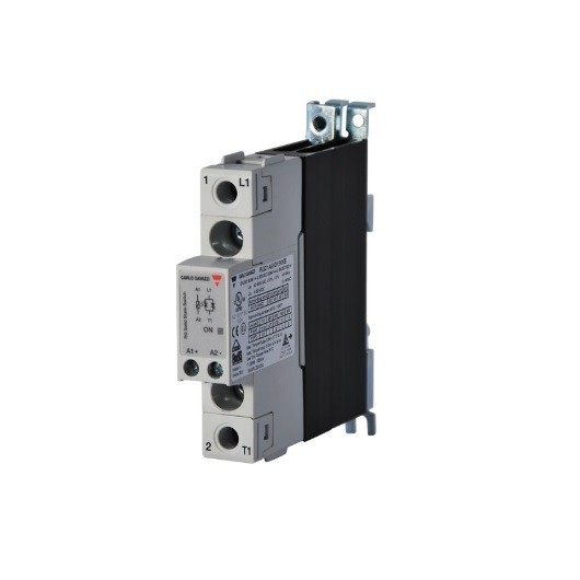 Relé de estado sólido, monofásico con disipador, Intensidad nominal 25A, tensión nominal 230 VAC, alimentación DC, RGC1A23D25K