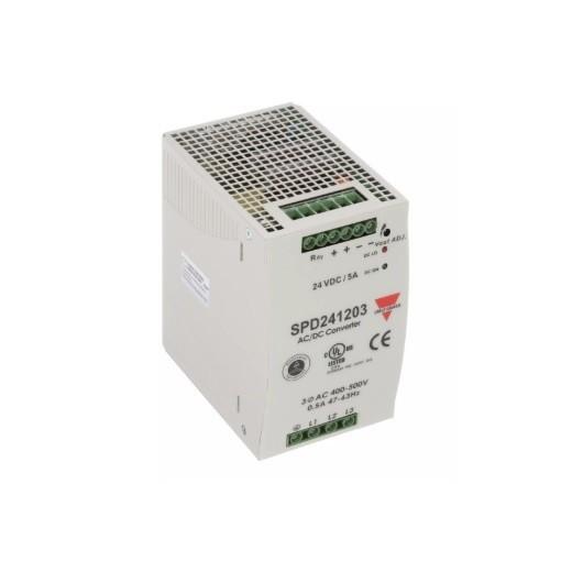 Fuente alimentación carril DIN, entrada trifásica 24 VDC,120W, 5A, SPD241203